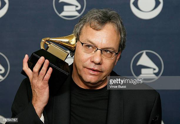 Comedian Lewis Black poses in the press room with his Grammy for Best Comedy Album at the 49th Annual Grammy Awards at the Staples Center on February...