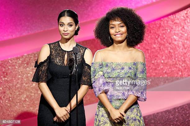 Comedian Lilly Singh and actress Yara Shahidi speak onstage during the Marie Claire Young Women's Honors presented by Clinique at Marina del Rey...