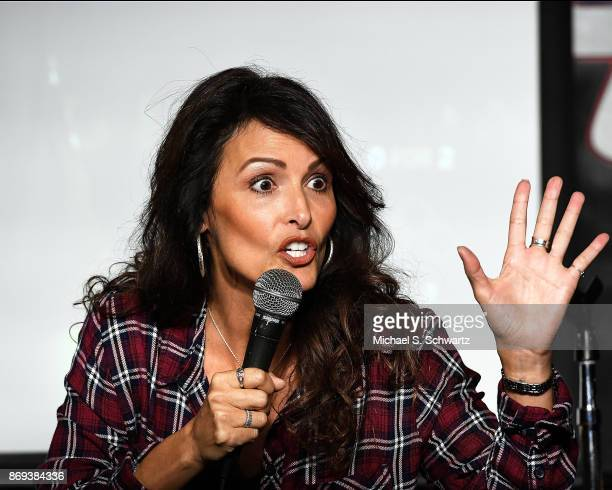 Comedian Linda Alvarado performs during her appearance at The Ice House Comedy Club on November 1 2017 in Pasadena California