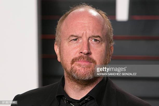 Comedian Louis C.K. Poses as he arrives to the 2016 Vanity Fair Oscar Party in Beverly Hills, California on February 28, 2016. / AFP / ADRIAN...