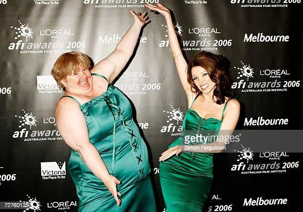Comedian Magda Szubanski and singer Dannii Minogue pose in the Awards Room backstage at the L'Oreal Paris 2006 AFI Awards at the Melbourne Exhibition...