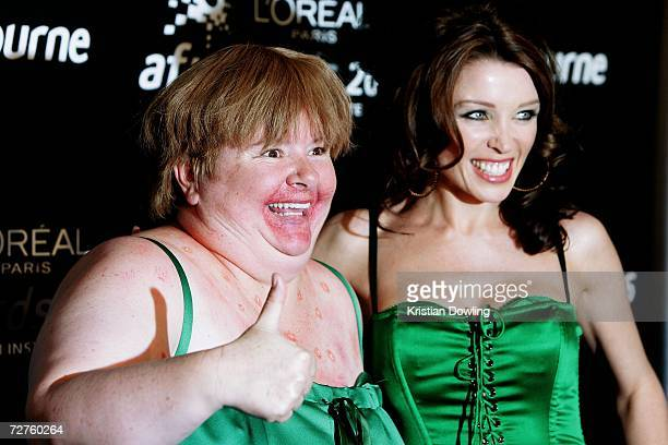 Comedian Magda Szubanski and singer Dannii Minogue pose in the Awards Room backstage at the L'Oreal Paris 2006 AFI Awards at the Melbourne Exhibition...