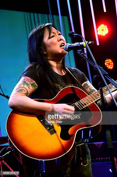 Comedian Margaret Cho performs at The LA Gay Lesbian Center's Annual An Evening With Women at The Beverly Hilton Hotel on May 10 2014 in Beverly...