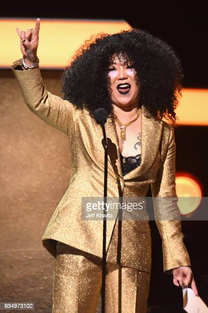 Comedian Margaret Cho speaks onstage at the Premiere Ceremony during the 59th GRAMMY Awards at Microsoft Theater on February 12, 2017 in Los Angeles,...