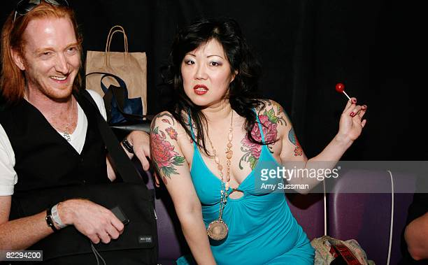 Comedian Margaret Cho talks to guest at a screening of Margaret Cho's 'The Cho Show' at Le Royale on August 13 2008 in New York City