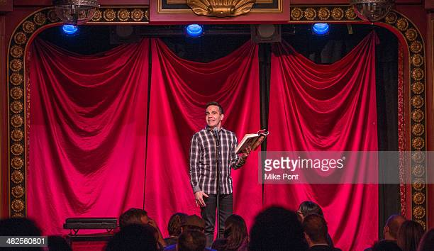Comedian Mario Cantone performs in the 2014 Celebrity Autobiography show at Stage 72 on January 13 2014 in New York City