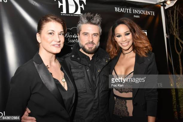 Comedian Marion Dumas Anthony Dupray and Alicia Fall attend FDF Magazine Launch Party at Hotel Christian Dior on February 21 2017 in Paris France