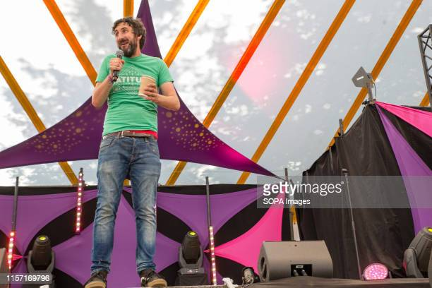 Comedian Mark Watson performs live on stage at the Henham Park during the Latitude Festival in Southwold Suffolk