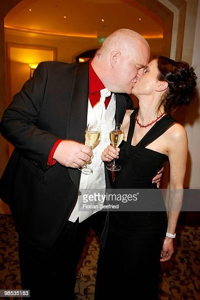 Comedian Markus Maria Profitlich and Ingrid Einfeldt attend the 'Felix Burda Award 2010' at hotel Adlon Kempinski on April 18, 2010 in Berlin,...
