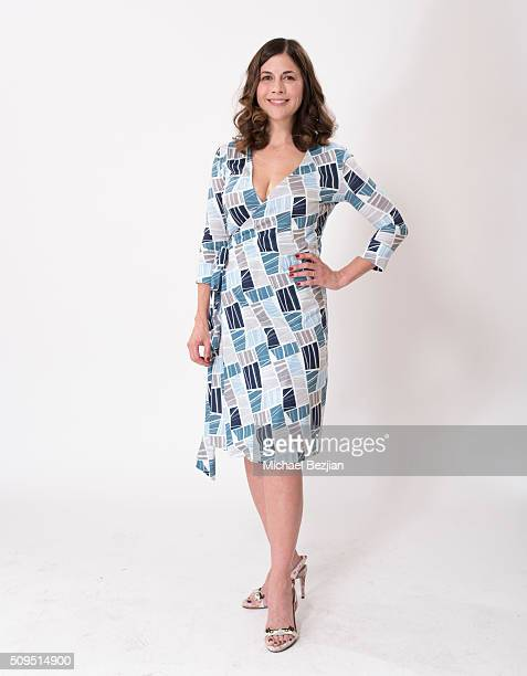 Comedian Mary Gallagher poses for portrait in a CHLOE DESCHANEL dress at the SAP The Starving Artists Project and D'Amore's Famous Pizza A Day Of...