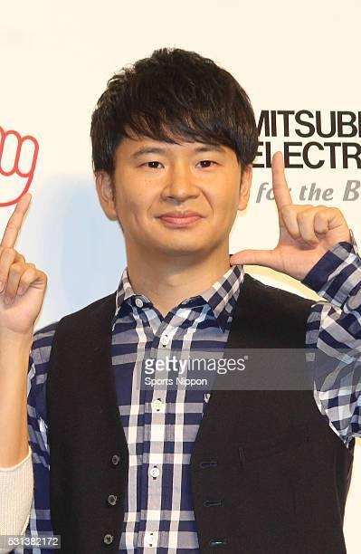 Comedian Masayasu Wakabayashi of Audrey attends the Mitsubishi Electric press conference on September 29 2015 in Tokyo Japan