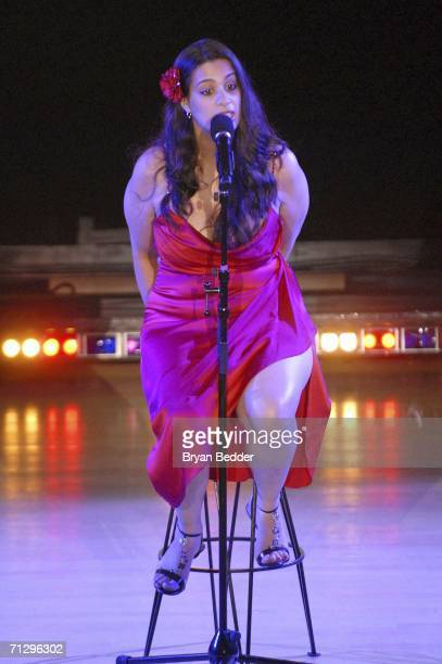 """Comedian Maysoon Zayid performs onstage during V-DAY's """"Its Hard Out Here For a Girl"""" event, part of """"UNTIL THE VIOLENCE STOPS: NYC Festival"""", at the..."""