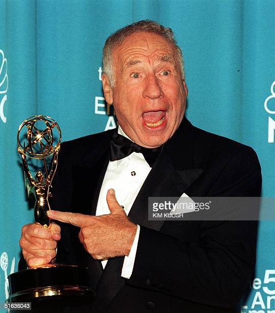 Comedian Mel Brooks points to his Emmy awardat the 50th Annual Primetime Emmy Awards 13 Sept at the Shrine Auditorium in Los Angeles Brooks won his...