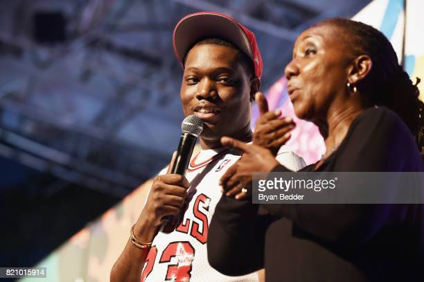 Comedian Michael Che performs onstage alongside a sign language interpreter during OZY FEST 2017 Presented By OZYcom at Rumsey Playfield on July 22...