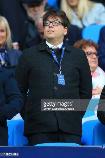 Comedian Michael MacIntyre looks on before the UEFA Champions League Quarter Final second leg match between Manchester City and Tottenham Hotspur at...