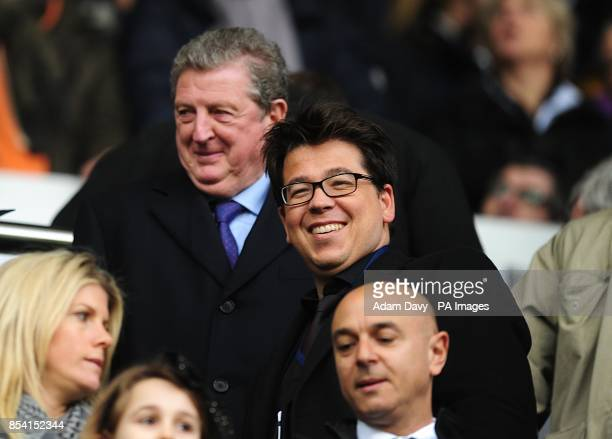 Comedian Michael McIntyre and England manager Roy Hodgson in the stands