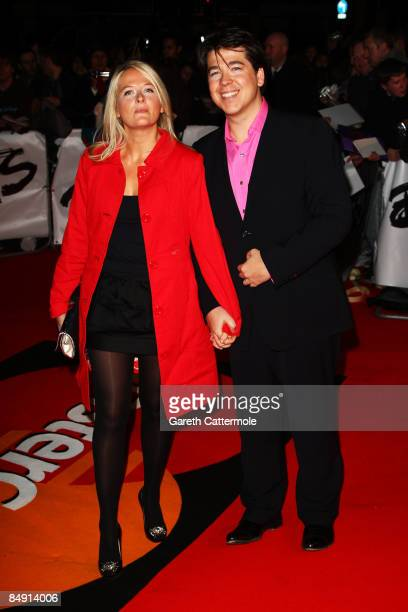 Comedian Michael McIntyre and wife Kitty arrive at the Brit Awards 2009 at Earls Court on February 18, 2009 in London, England.