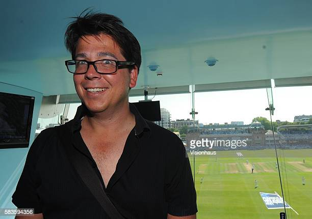 Comedian Michael McIntyre enjoying the cricket from the media centre during Day One of the 2nd Investec Ashes Test between England and Australia at...