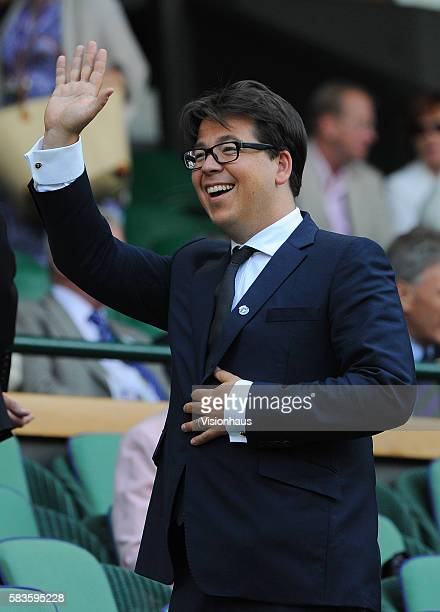 Comedian Michael McIntyre in the Royal Box on Day Nine of the 2014 Wimbledon Tennis Championships at the All England Lawn Tennis and Croquet Club in...