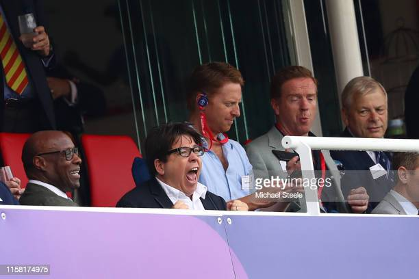 Comedian Michael McIntyre shows his excitement during the Group Stage match of the ICC Cricket World Cup 2019 between England and Australia at Lords...