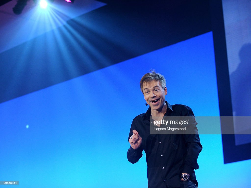 Comedian Michael Mittermeier performs during the Touareg World Premiere at the Postpalast on February 10, 2010 in Munich, Germany.