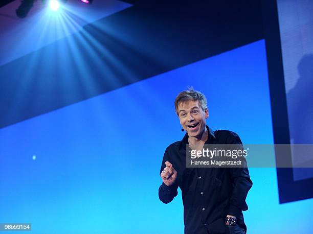 Comedian Michael Mittermeier performs during the Touareg World Premiere at the Postpalast on February 10 2010 in Munich Germany