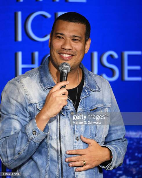 Comedian Michael Yo performs during his appearance at The Ice House Comedy Club on December 27 2019 in Pasadena California