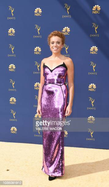 Comedian Michelle Wolf arrives for the 70th Emmy Awards at the Microsoft Theatre in Los Angeles California on September 17 2018