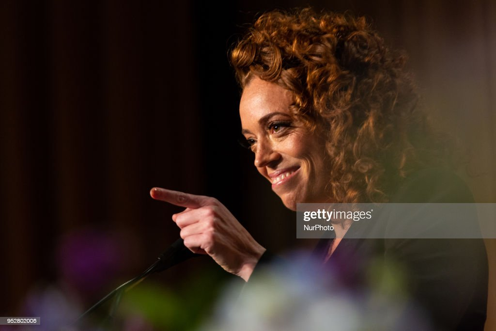 Comedian Michelle Wolf entertains guests at the White House Correspondents' Association (WHCA) dinner at The Washington Hilton in Washington, D.C., on Saturday, April 28, 2018. The 104th WHCA raises money for scholarships and honors the recipients of the organization's journalism awards.