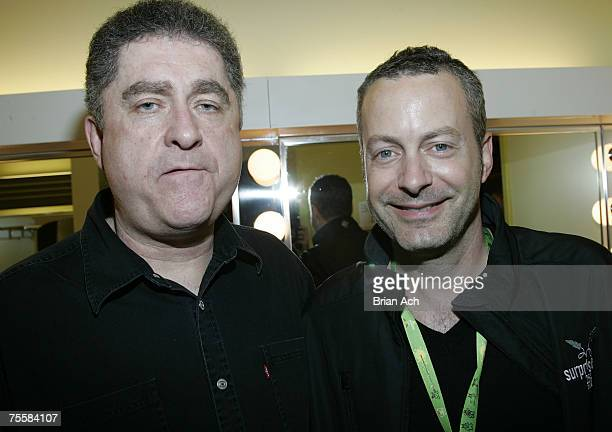 Comedian Mike MacDonald and Just For Laughs COO Bruce Hills backstage at the Theatre St Denis during the Just For Laughs Festival on July 20 in...