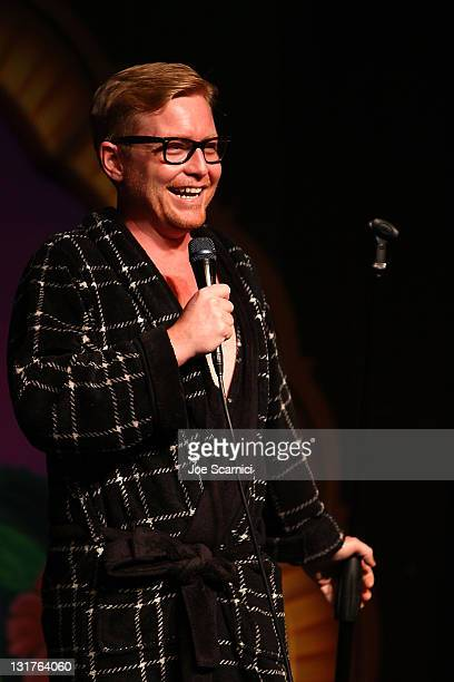 """Comedian Mike O'Connell performs at """"A Benefit For RX Laughter"""" presented by Junior Hollywood Radio & Television at Jon Lovitz Comedy Club on July 8,..."""