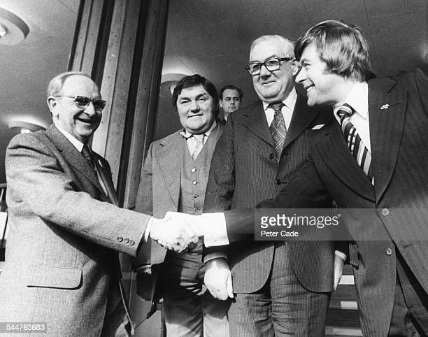 Comedian Mike Yarwood shaking hands with General Secretary Jack Jones as fellow comedian Les Dawson and Prime Minister James Callaghan look on at...