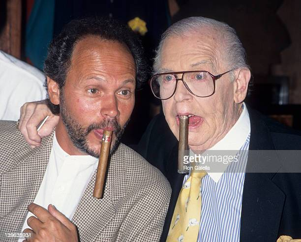 """Comedian Milton Berle and actor Billy Crystal attending """"Announcement for First Annual Lasord Foundation Awards"""" on August 10, 1995 at Phillip Danes..."""