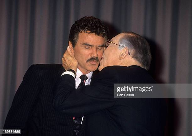 "Comedian Milton Berle and actor Burt Reynolds attending ""Iris Lifetime Achievement Awards Honoring Milton Berle"" on January 27, 1993 at Moscone..."