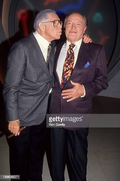 Comedian Milton Berle and Bob Hope attending Bob Hope Special on March 1 1992 at NBC Studios in Burbank California