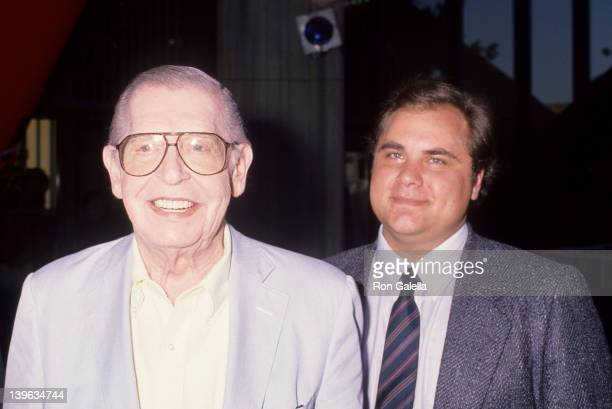 """Comedian Milton Berle and son attending the premiere of """"Die Hard 2"""" on July 2, 1990 at Avco Center Theater in Westwood, California."""
