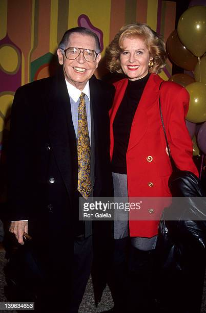 """Comedian Milton Berle and wife Lorna Adams attending 25th Anniversary Party for """"Laugh In"""" on January 15, 1993 at Loew's Santa Monica Beach Hotel in..."""
