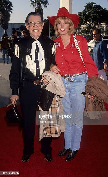 Comedian Milton Berle and wife Lorna Adams attending 40th Annual SHARE Boomtown Party on May 8 1993 at the Santa Monica Civic Auditorium in Santa...