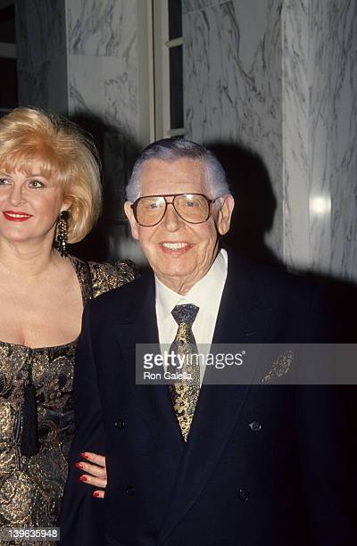 Comedian Milton Berle and wife Lorna Adams attending 84th Birthday Party for Buddy Ebsen on March 20, 1992 at the Beverly Wilshire Hotel in Beverly...