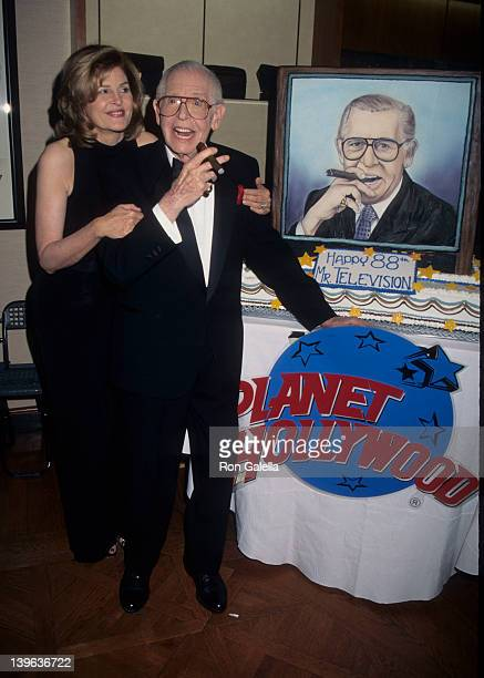 Comedian Milton Berle and wife Lorna Adams attending 88th Birthday Party for Milton Berle on July 12 1996 at the Alfred Dunhill Store in Beverly...