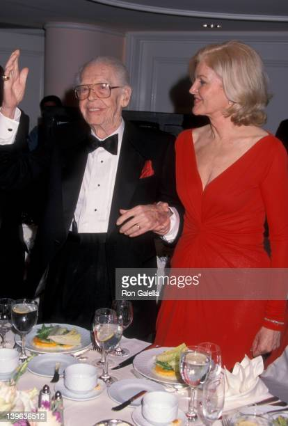 Comedian Milton Berle and wife Lorna Adams attending 93rd Birthday Party for Milton Berle on July 22 2001 at the Beverly Hills California