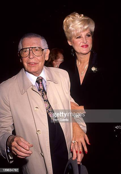 Comedian Milton Berle and wife Lorna Adams attending American Cinema Awards Foundation Summer Fudraiser on September 14 1991 at Beverly Hilton Hotel...