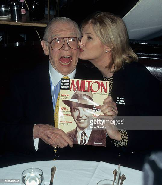 Comedian Milton Berle and wife Lorna Adams attending Autographing Limited Edition Cigar Boxes by Leroy Neiman on April 10 1997 at Alfred Dunhill in...