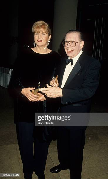 Comedian Milton Berle and wife Lorna Adams attending Friends of Hebrew University Scopus Awards on January 14 1995 at the Beverly Hilton Hotel in...