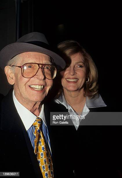 """Comedian Milton Berle and wife Lorna Adams attending """"Grand Opening of Etro Boutique"""" on October 25, 1996 in New York City, New York."""