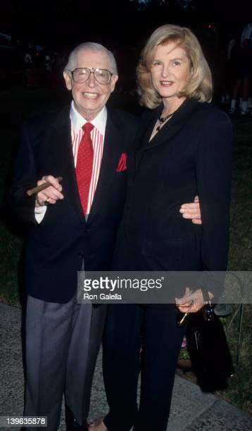 """Comedian Milton Berle and wife Lorna Adams attending """"Nominees Luncheon for 47th Annual Primetime Emmy Awards"""" on September 6, 1995 at the Westwood..."""