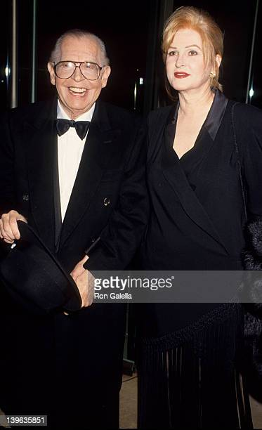 "Comedian Milton Berle and wife Lorna Adams attending ""Sheba Humanitarian Awards Gala Honoring Anjelica Huston"" on January 26, 1994 at the Beverly..."