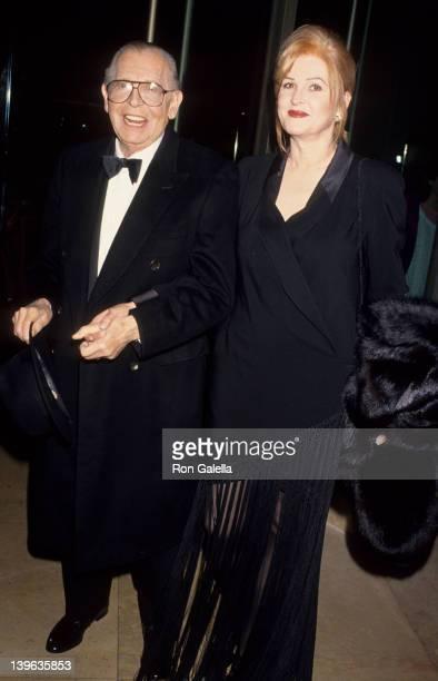 Comedian Milton Berle and wife Lorna Adams attending Sheba Humanitarian Awards Gala Honoring Anjelica Huston on January 26 1994 at the Beverly Hilton...