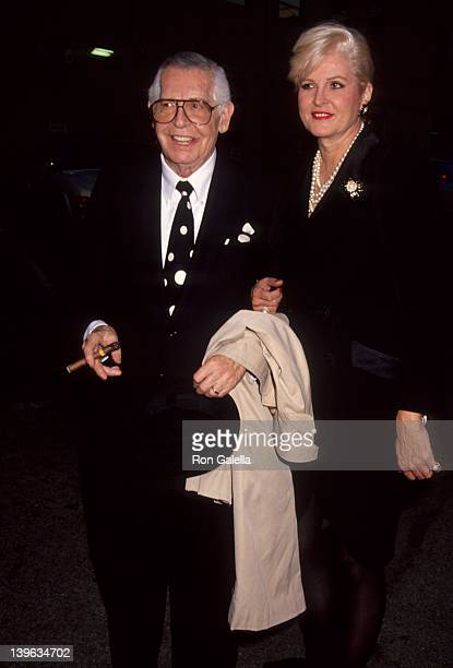 Comedian Milton Berle and wife Lorna Adams attending Sidney Sheldon Memories Of Midnight on October 2 1991 at Bistro Restaurant in Beverly Hills...