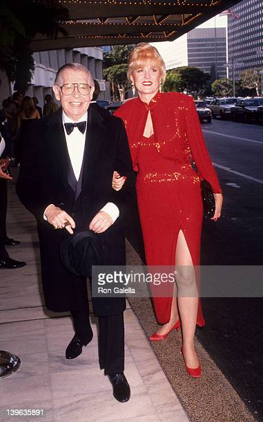 """Comedian Milton Berle and wife Lorna Adams attending """"Simon Wiesenthal Center Gala Honoring Arnold Schwarzenegger"""" on June 16, 1991 at the Century..."""